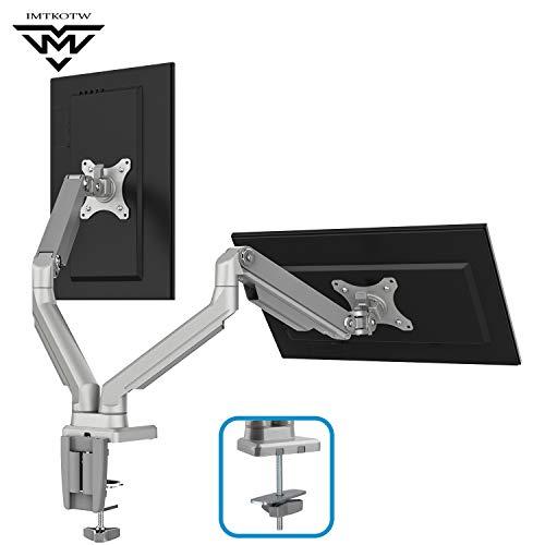 IMtKotW Dual Arm Monitor Stand - Height Adjustable Full Motion Mechanical Spring Monitor Desk Mount...