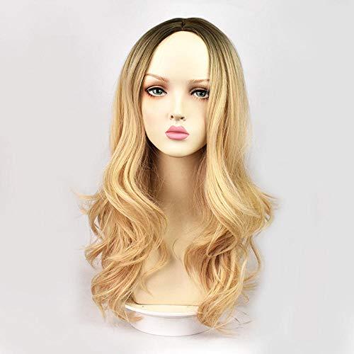 Dames à la mode mi-point bouclés teinture des cheveux coiffures haut de gamme rose net perruque COSplay