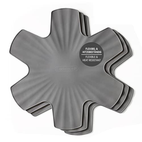 Coolinato Protettore per pentole in Silicone, Set di 3 Protezioni per pentole Protezione impilabile per pentole, Lavabile in lavastoviglie, 35 cm, Grigio