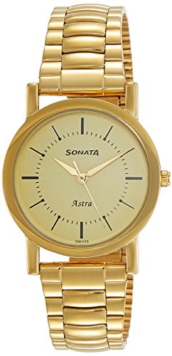 Sonata Analog Champagne Dial Men's Watch-NL77049YM01C