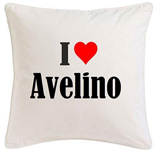 Kissenbezug I Love Avelino 40cmx40cm aus Mikrofaser geschmackvolle Dekoration für jedes Wohnzimmer oder Schlafzimmer in Weiß mit Reißverschluss