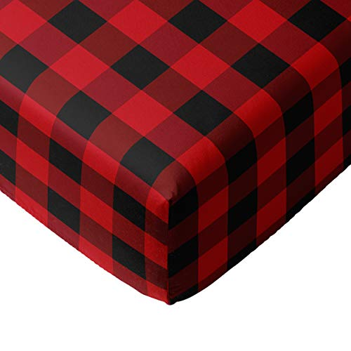 Crib Sheets for boy Girl - 100% Cotton Fitted Crib Sheet Set - Perfect for Baby Boys, Fits Standard Toddler Mattress (Buffalo Plaid)