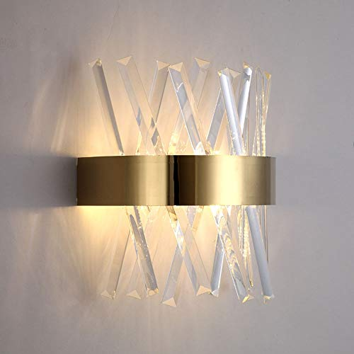 Modern Crystal Wall Light Gold Wall Lamp Indoor Simple Metal Sconce, Geometric Wall Wash Lights for Living Room Hallway Stairs Bedroom Bedside Decorative Warm White Wall Lamps