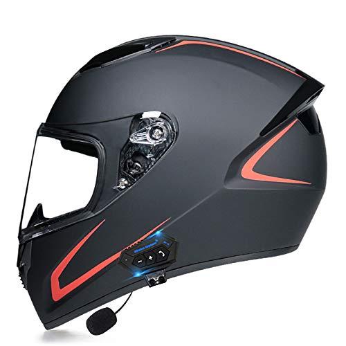 Flip Up Full Face Casco,Modular Bluetooth Helmet Motorcross Altavoz Incorporado Micrófono para Respuesta automática Certificación Dot/ECE H,L