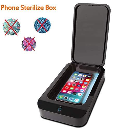 Desinfectante para teléfono inteligente UV, portátil, luz UV, caja de desinfección personal para teléfonos móviles, joyas, relojes (negro)