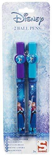 TrendyMaker Disney Frozen - 2 penne a sfera in 2 design – Super per diario, astuccio, regalo per sacchetti per feste, per la scuola, il calendario dell'Avvento o i cestini di Pasqua