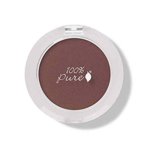 100% PURE Pressed Powder Eye Shadow (Fruit Pigmented), Bronze, Shimmer Eyeshadow, Buildable Pigment, Easy to Apply, Natural Makeup (Matte Warm Reddish Brown) - 0.07 oz