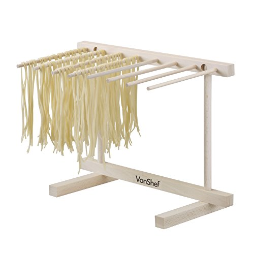 VonShef Pasta Drying Rack - Collapsible Wooden Spaghetti, Noodle and Fresh Pasta Drying Stand - Natural Beechwood