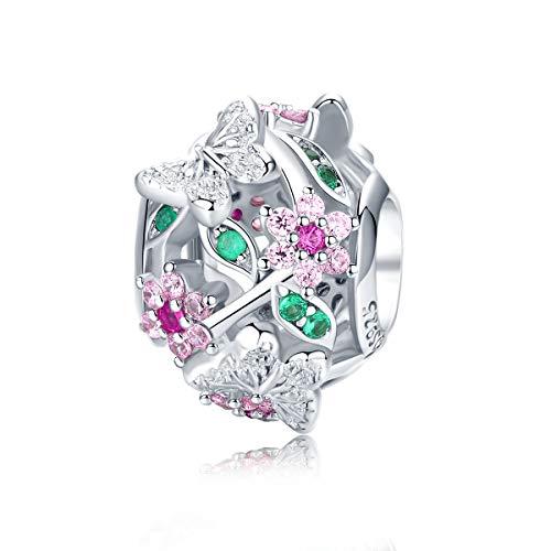 CHENGMEN Butterfly Charm 925 Sterling Silver Bead Charms Fits European Bracelets Jewellery Cute Butterflies Fly in Colourful Flowers