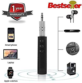 VOSAVO BT450 Wireless Bluetooth Receiver 3.5mm Jack Stereo Bluetooth Audio Music Receiver Adapter for Speaker Car Aux Hands Free Kit Compatible with All Android, iOS and iOS Devices - Assorted Colour