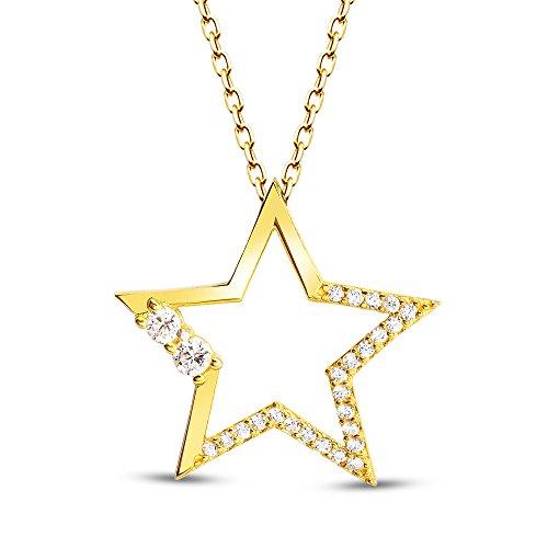 AQILA Damen Halskette Kette Stern Star Zirkonia 925 Silber vergoldet 45 cm