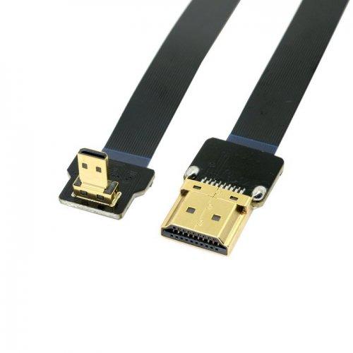 cablecc 90Grad nach unten abgewinkelt FPV Micro HDMI Stecker auf HDMI Stecker FPC flach Kabel 50cm für Multicopter Aerial Fotografie cablecc