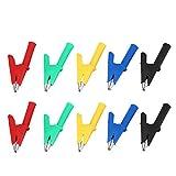Pinza de Cocodrilo de 10 Piezas, Clip de Cocodrilo Aislado de Material de Cobre Puro de 4 mm con Vaina para Probar el Medidor de Sonda Banana Jack HV Test 1000V 30A