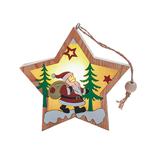 Fasclot Christmas Decorations Wooden Glowing Five-Pointed Star Scene Decoration Pendant Home & Garden Home Decor