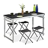 Relaxdays Campingtisch Set Juego, 4 sillas, Mesa Plegable de Camping, Altura Regulable, 120 x 60 cm, Aluminio, MDF, Plata/Gris, Metal, 1 Unidad