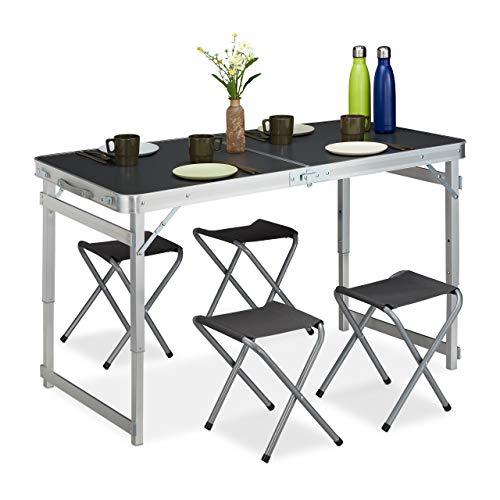 Relaxdays Campingtisch Set Juego, 4 sillas, Mesa Plegable de Camping, Altura Regulable, 120 x 60 cm, Aluminio, MDF, Plata/Gris, Unisex Adulto, 1 Unidad