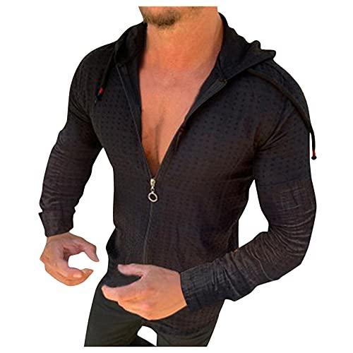 XVSSAA Mens Casual Lightweight Zip Up Hoodie Shirt Slim-Fit Solid Color Long-Sleeve Henley Shirt Drawstring Tops Tshirt Black
