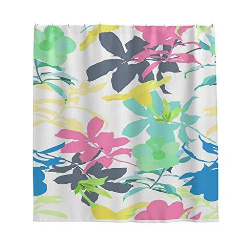 NC83 Plant bloem patroon design douchegordijn kleurrijk geen chemische geur badgordijn set met haken - voor woonhuis decoratie