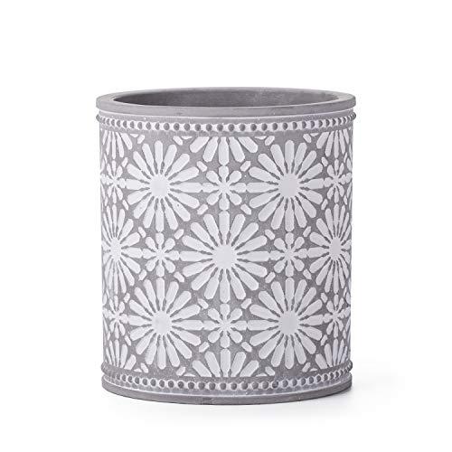 Kitchen Cooking Utensil Holders | Fine Embossed Cement Utensils Crock | Cement Utensil Container Kitchenware Flatware Organizer - Farmhouse Decor Utensils Caddy (Flower Pattern)