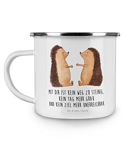Mr. & Mrs. Panda Tassendruck, Camping, Camping Emaille Tasse Igel Liebe mit Spruch - Farbe Weiß