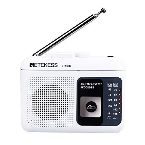 Retekess TR606 Radio Portatile FM AM Radio con Riproduzione di Cassette Registratore Vocale