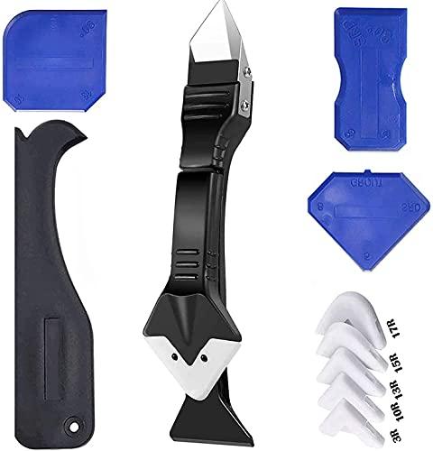 3 in 1 strumenti per presellatura in silicone, raschietto, strumenti di finitura in silicone, applicatore in silicone per cucina, bagno, f...