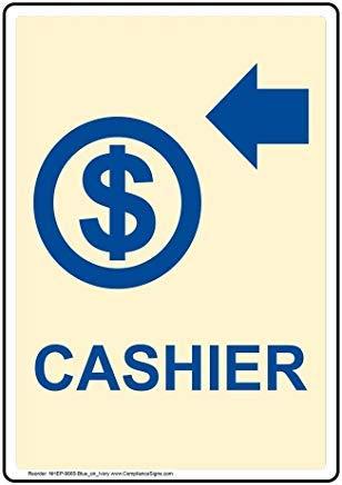 Vertikales Kassenschild, lustiges Wanring Schild, Torschild, Hence Yard Schild, 20,3 x 30,5 cm mit englischem Text und Symbol, blau auf elfenbeinfarben