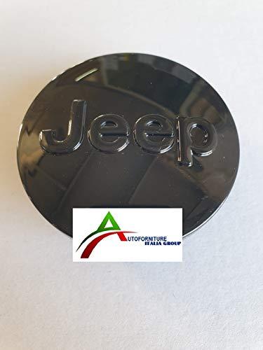 Tapacubos negro brillante para llantas de aleación, diámetro exterior de 64 mm, para Cherokee Renegade Compass