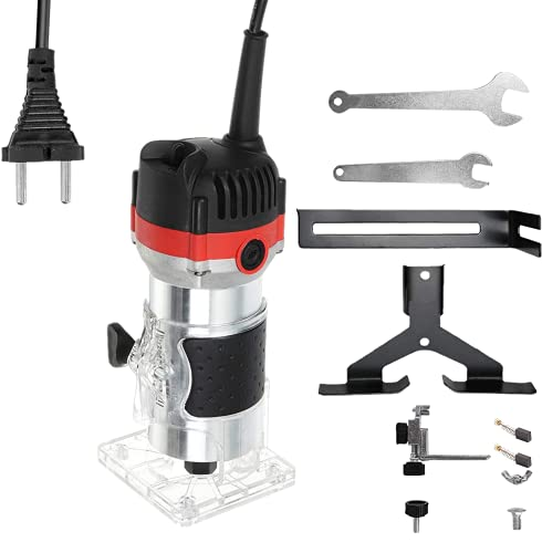 Fresadora eléctrica para madera Recortadora de mano eléctrica Laminador de madera para fresa de 6,35, Router enrutador,Carpinteros herramienta Fresadora 800 W, 30000r/min (red&black)