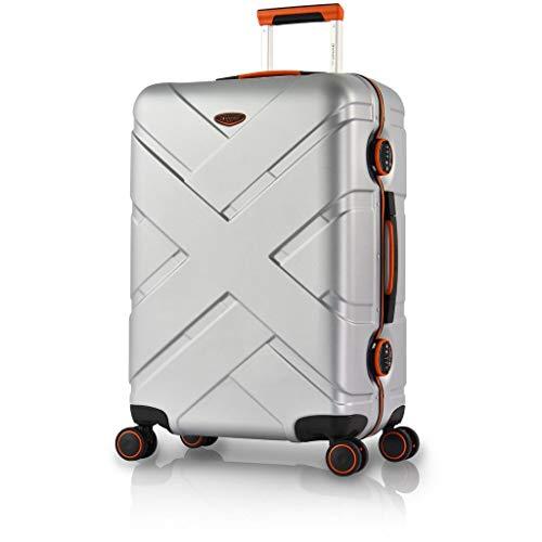 Eminent Koffer Gold Crossover M 65cm 66L Aluminiumrahmen 4 Doppelrollen 360° TSA Schloss Hartschalenkoffer Silber/Orange