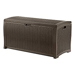 Suncast 73-Gallon Medium Deck Box - Lightweight Resin Indoor/Outdoor Storage Container and Seat for Patio Cushions and Gardening Tools - Store Items on Patio, Garage, Yard - Mocha Brown