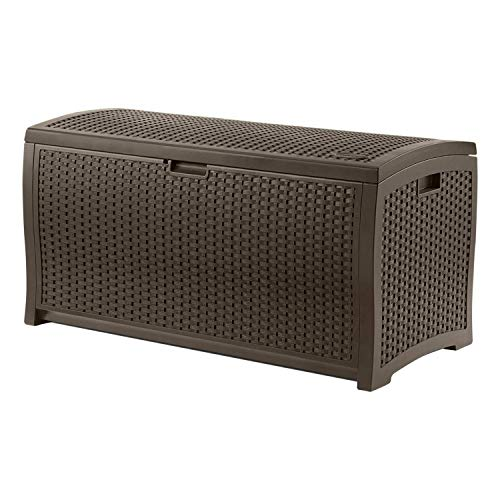 Suncast 99 Gallon Resin Wicker Patio Outdoor Storage Container