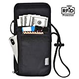 Neck Wallet Travel Pouch Rfid Blocking,Black Phone Passport Credit Card Holder for Men,Cell Phone Waterproof Nylon Black Bag,Anti-theft Security Purse