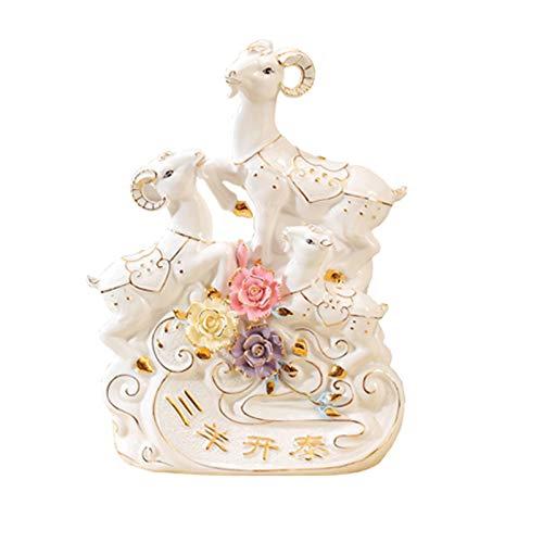 Posągi Ceramika Feng Shui Statua Chiński Zodiak Zwierząt Koziołki Ozdoby Domowe Biuro Stół Top Decor Figurine Gift Collection Grafika