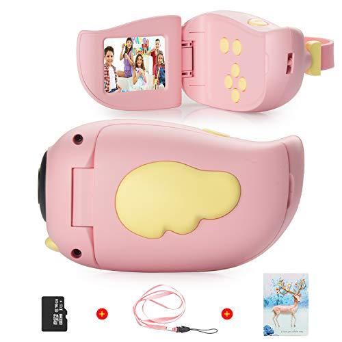 Vannico Fotocamera per bambini, schermo HD da 2,0 pollici, 8 MP, registrazione, scheda 16G TF, 5 giochi, regali Fotocamera digitale per bambini 3-8 anni, Videocamera Ragazzo da 3 a 10 anni (Rosa)
