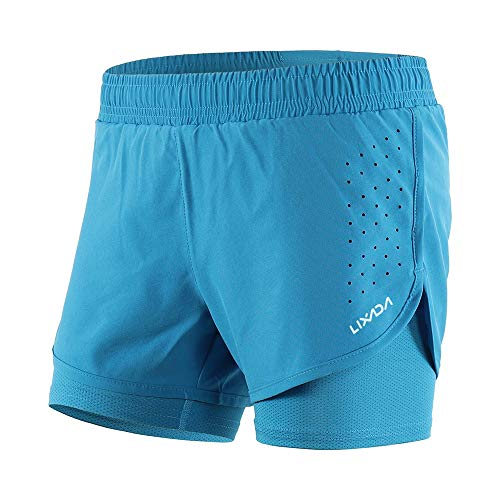 Lixada Pantaloncini da Corsa 2 in 1 da Donna con Longer Liner Asciugatura Rapida Traspirante per Esercizio di Allenamento, Jogging, Ciclismo, Tennis, Boxe (9 Colori)