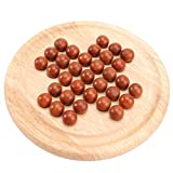 Toddmomy 1 juego de mesa de madera solitario, canicas, ajedrez, estrategia, ajedrez, tradicional, para estudiantes, adultos, niños