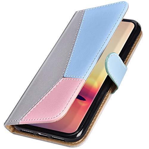 MoreChioce compatible avec Coque Samsung Galaxy J5 2016,Coque Galaxy J5 2016 Cuir Portefeuille,Tricolore Gris Etui à Rabat en Cuir Housse de Protection Clapet Case Magnétique avec Support