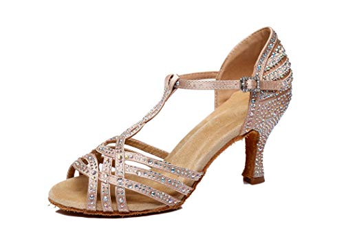 MGM-Joymod Damen Comfort T-Strap Cut-Out Flared Heel Strass Salsa Tango Latein Charakter Tanzschuhe Hochzeit Party Sandalen, Beige - Beige/7.5cm Heel - Größe: 39 1/3 EU