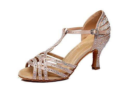 MGM-Joymod Damen Comfort T-Strap Cut-Out Flared Heel Strass Salsa Tango Latein Charakter Tanzschuhe Hochzeit Party Sandalen, Beige - Beige/7.5cm Heel - Größe: 41 EU