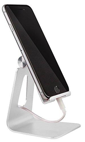 MyGadget Smartphone Ständer - Aluminium Schreibtisch Halterung - Handy & Tablet Multi Winkel Stand für u.a. iPhone/iPad, Samsung Galaxy - Silber