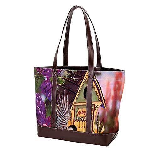 NaiiaN Handtaschen Vogelhaus Blumen Sommer Geldbörse Shopping Einkaufstasche Umhängetaschen für Mutter Frauen Mädchen Damen Student Leichtgewicht Gurt