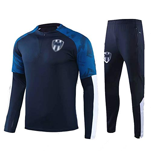 ZHWEI Traje Entrenamiento de fútbol Club de Adulto Camiseta de la Juventud de Manga Larga y Pantalones de Jogging BreathableTop QL0301 Traje Respirable (Color : Navy Blue, Size : L)