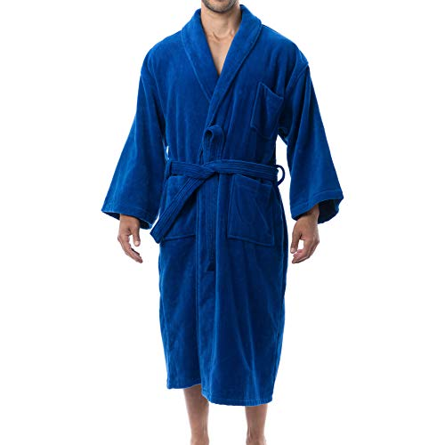 Alpine Swiss Aiden Mens Cotton Terry Cloth Bathrobe Shawl Collar Velour Spa Robe BLU XLXXL