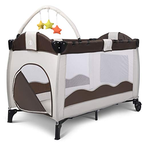 Discover Bargain Lucky Link Foldable Baby Crib Portable Fabric Bed Playpen Playard with Changing Tab...
