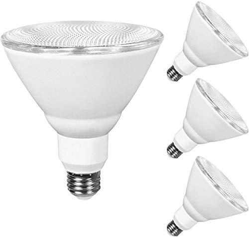 JULLISON 4 Packs PAR38 LED Bulb, 120V/13W/980Lumens/40 Degrees Beam, 90W Equivalent, 3000K Warm White, CRI80, Dimmable, Glass Lens, Outdoor Flood, E26 Base, UL