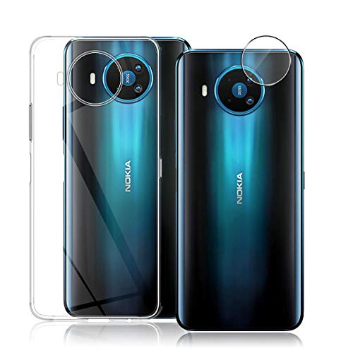 Aerku Kamera SchutzfolieundHülle für Nokia 8.3 5G, [1+1Stück ][Flexibles Glas] [Vollständige Abdeckung] HD Kamera Folie, Transparent TPU Schutzhülle Ultra Thin Back Cover Handyhülle