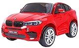 Coche Electrico para Niños Auto Alimentado con Batería Vehículo Eléctrico Control Remoto - BMW X6M 2 Plazas XXL - Rojo