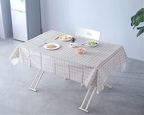 Mantel Mesa Antimanchas Rectangular Impermeable PVC Plastico Lavable Mantel Cuadros Vichy, Para Sala Exterior Jardín Cocina Picnic Fiesta(Cuadros Grises,140x180)