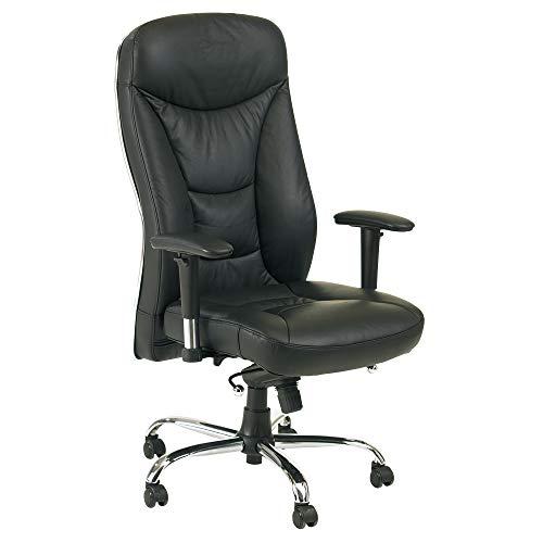 maxVitalis Bürostuhl, ergonomischer, rückengerechter Drehstuhl mit aufblasbarer Lordosenstütze, verstellbare Sitzhöhe, mitschwingende Rückenlehne mit Wippmechanik, bis 120 kg (Echtleder Schwarz)